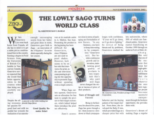 The Lowly Sago Turns World-Class (Zagu's Success Story)