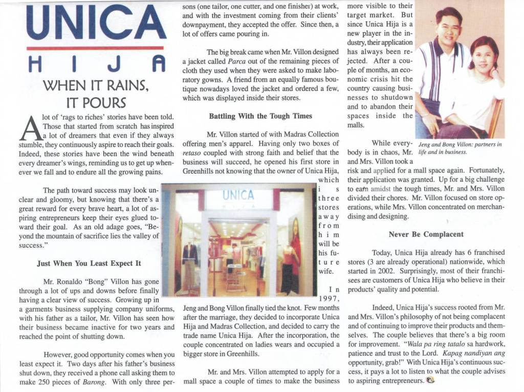 When it Rains, It Pours (Unica Hija's Success Story)